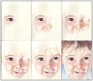 In progress scans of colored pencil drawing Clara at 9 Months