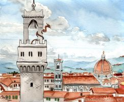 Stair-dragon over Firenze by GoldeenHerself