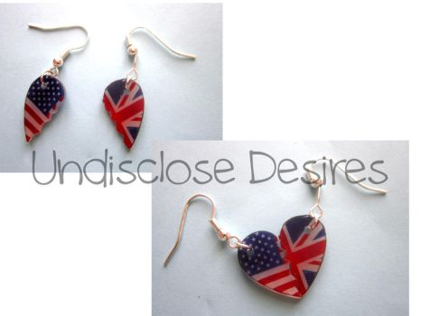 APH - America x England - Half Heart Earrings by Undisclose--Desires