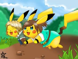 Link and me Pikachu by linkinounet62