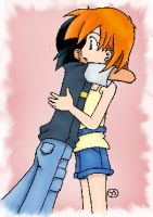 Ash and Misty - hug by Maggy23