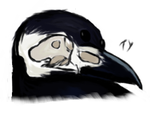 Skeletal, three eyed crow by YoursTruly-Ty