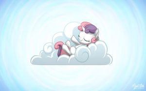 Sweetie Belle on a Cloud by mysticalpha