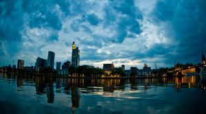 Frankfurt Skyline at Night II by lokkydesigns