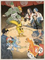 Pokemon as an Ukiyo-e by thejedhenry