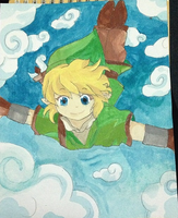 Flying Link Painting by xCapnKayKay
