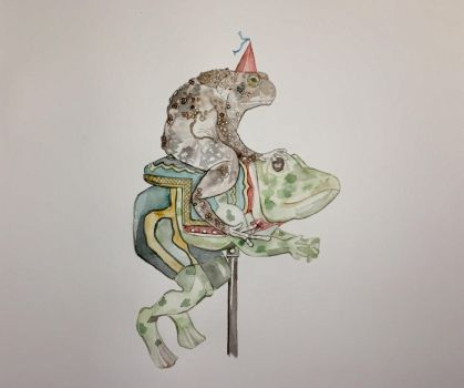 Toad on a Carousel Frog by mybuttercupart
