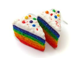 Rainbow Cake Earrings 2 by PumpkinDream
