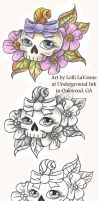 Girly skull with bow 01 by lavonne