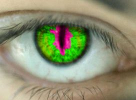 pink an green cat eye by qwerty5678