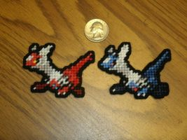 Pokemon Sprite Stitches  - Latias and Latios by UWorlds