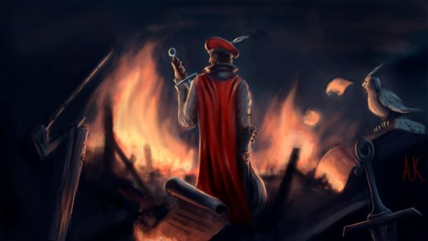 the lute is burning in fire by Kamuzzz
