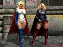 [W.I.P] Supergirl and PowerGirl by mrbunnyart