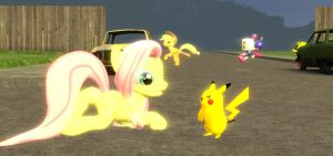 Fluttershy and Pikachu by sp19047