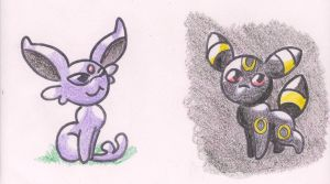 Chibi Espeon and Umbreon by Maddie-the-Cattie