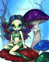 Masked Fairy on the Mushrooms by jasminetoad