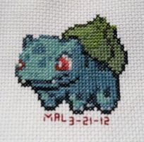 Gotta stitch 'em all - #1 Bulbasaur by GamingBitCrossStitch