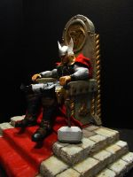 THOR on Throne painted sculpture by mycsculptures