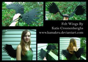 Felt Wings .:. All black 2 ft by Kamakru