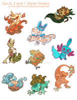 Starters Gen 1,3,6 Sticker Sheet by nikiera