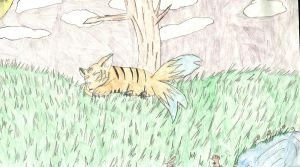 .:Two Tailed Tiger Fox: 7th grade picture:. by FlameHitachiinSuoh