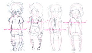 Sketch Adoptables - Girls by xX-CupcakeMarrow-Xx