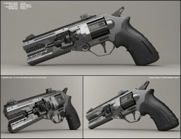 Jaw - concept of sci fi handgun by peterku