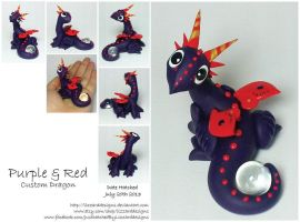 Purple and Red Dragon Commission by lizzarddesigns