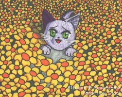 CT - Kitty in a Flower Patch by StaciNadia