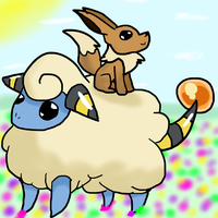 30 Day Pokemon Challenge - Day 2: Mareep and Eevee by Fangirl-Trash
