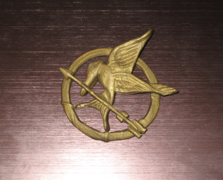 The Hunger Games Mockingjay pin of Katniss Everdee by intelectricity