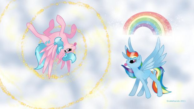MLP Firefly and Rainbow Dash friends by snakehands