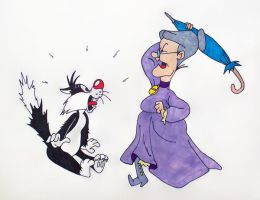 Sylvester and Granny by TheJokesOnYou