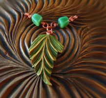 GREEN LEAF PENDANT with TOURMALINES by MassoGeppetto