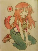 Kawaii Dog Anime Girl Coloured by Nocturnally-Blessed