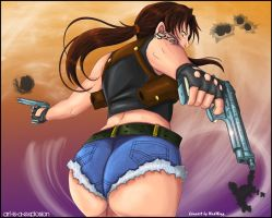 The Girl with the guns by Art-is-a-Explosion
