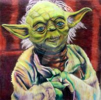 Yoda in color pencil by hatepuppetart