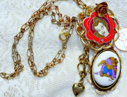 Disney Belle and Beast Steampunk Charm Necklace by elllenjean