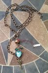 Handmade Blue Glass Heart Necklace by syah-mj