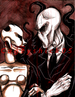 Scarlet and Slenderman [Gift] by Cageyshick05
