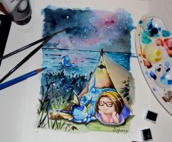 Camping with Pokemon by Lighane