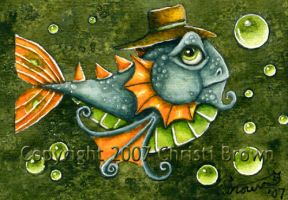 Mr. Fish ACEO watercolor by candcfantasyart