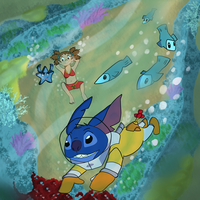 Commission - Stitch Under the Sea by HappyAggro