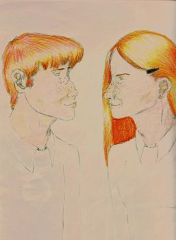 Ron and Ginny half colored by Kaykos