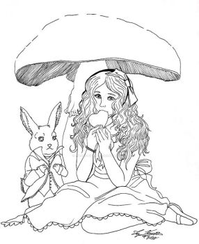 Alice nomming pt. 1 (ink) by hidden-by-art