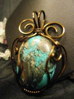 freeform turquoise and bronze pendant by BacktoEarthCreations