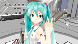 1052C-Re Miku on stage with a Motorola brick phone by Redfield-1982