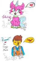 UniKitty and Emmett Lego movie scribbles by Kittychan2005