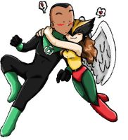 Hawkgirl and Green Lantern by ramhay