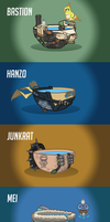 Overwatch heroes as lukewarm bowls of water #2 by Lukidjano